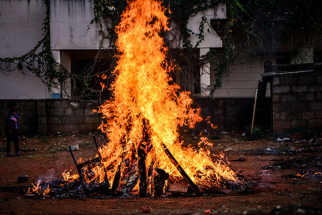Burning pyre called Holika Dahan