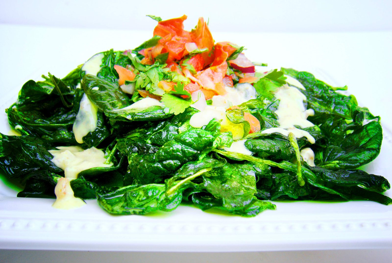Crispy spinach chaat - Indian recipe