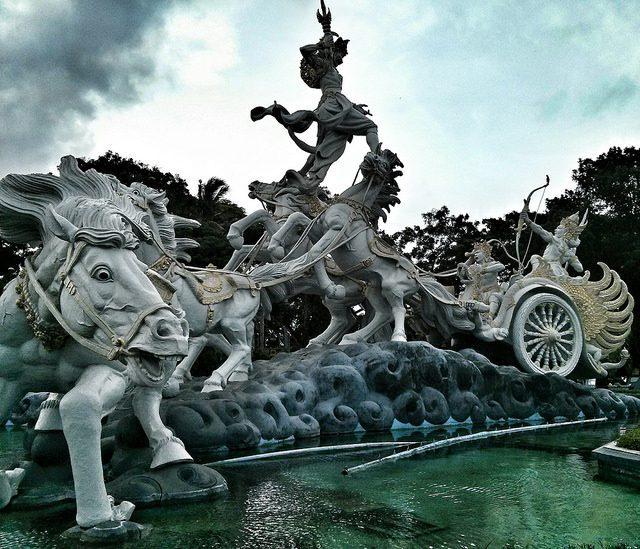DPS Bali Indonesia Kuta. Statue of Arjuna, Krishna and Bima, introductory scene of Bhagavad Gita