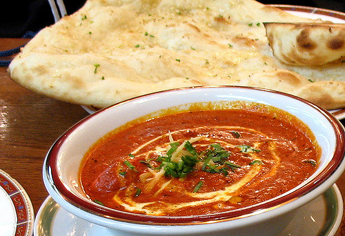 Indian recipe butter chicken with Naan