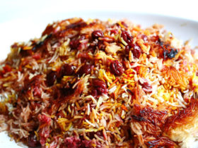Parsi rice with saffron and sour cherries