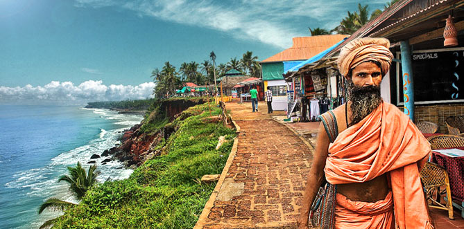Varkala beach with resort