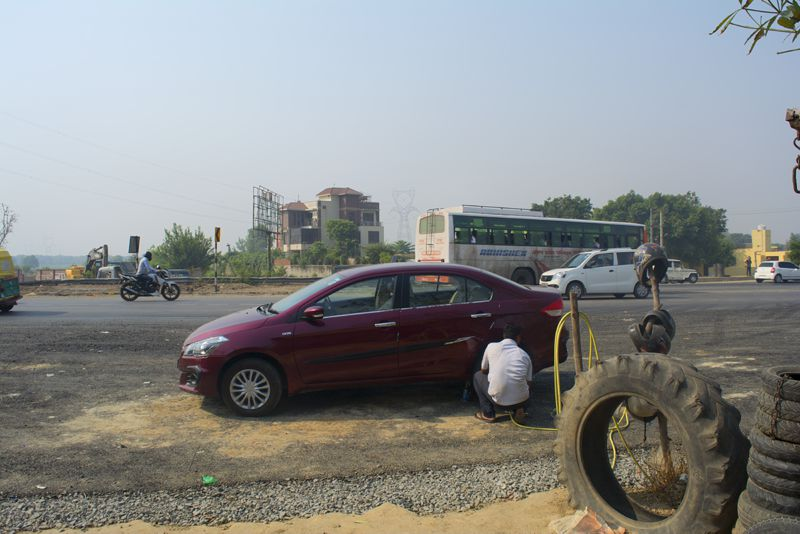Flat Tyres a small hiccup during our journey to Kainchi Dham