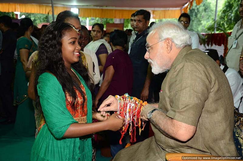 Women from different places of the World tie Rakhis to Indian PM Modi on Raksha Bandhan