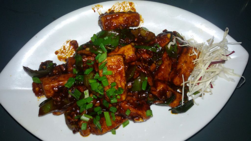 Indo-Chinese chilli paneer