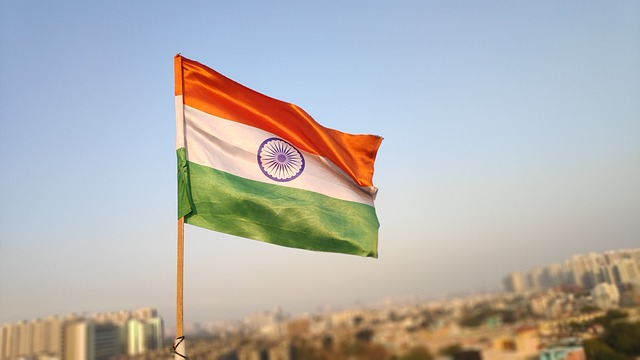 Ashok Chakra on the Indian tricolor flag