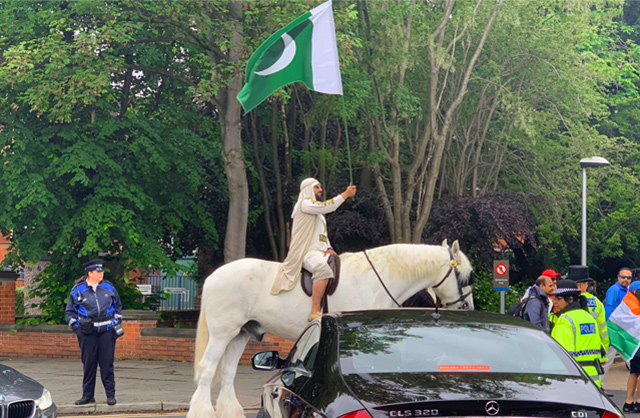 India Vs Pak WC Clash Crazy Pak fan arrives on horseback at Old Trafford Cricket Ground