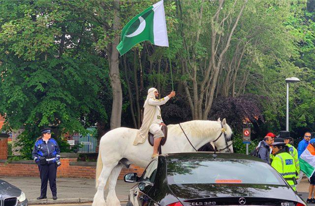 India Vs Pak WC Clash Crazy Pak fan arrives on horseback at Old Trafford Cricket Ground
