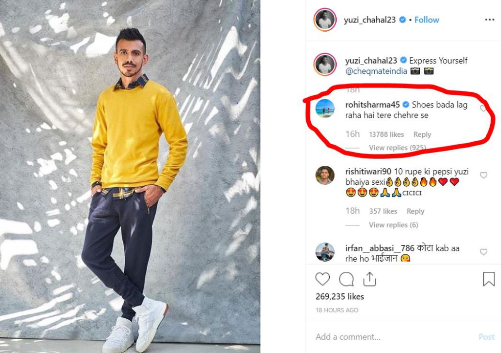 Rohit Sharma trolls Yuzvendra Chahal on Instagram after the latter shares a promotional picture