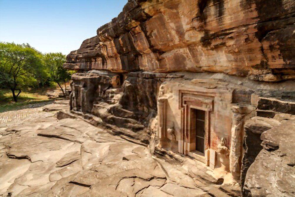 Rock cut temple cave from old Gupta period, Udaygiri, Vidisha, Madhya Pradesh