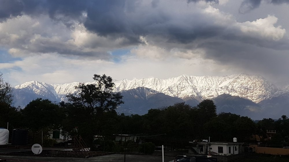 Himalayas as seen from Jalandhar city in India after decades