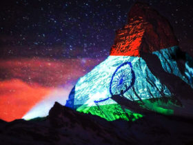 Indian Tricolour Projected onto Switzerland's Mighty Matterhorn