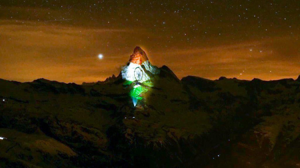 Indian Tricolour Projected  Matterhorn