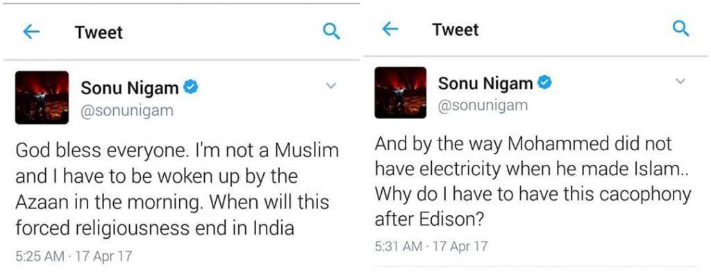 Sonu Nigam tweet regarding azan on loudspeaker