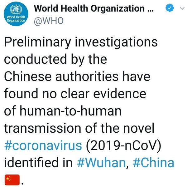 WHO tweet on no human transmission of novel coronavirus