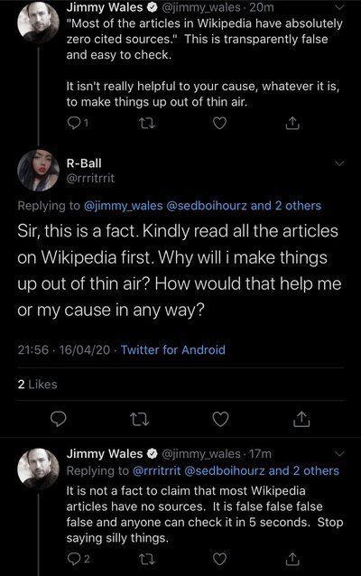 wikipeadi founder Jimmy Wales savage reply