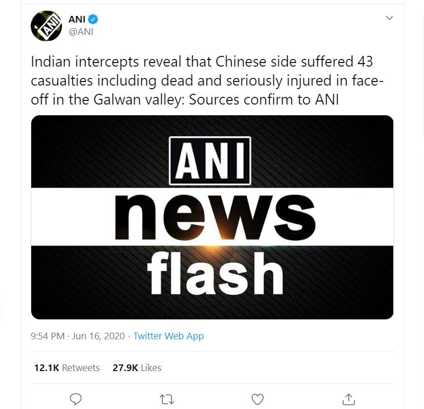 ANI Tweets about Chinese casualities