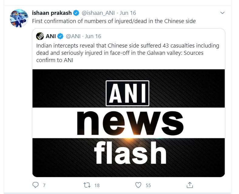Editor of ANI live services Ishaan Prakash quoted tweeted ANI