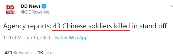 Tweet by DD News on Chinese Casualities