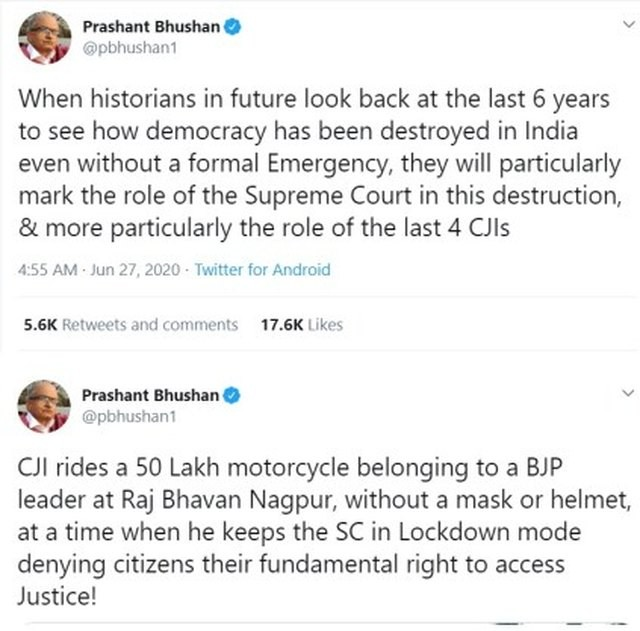 Tweet that led to Prashant Bhushan conviction of criminal contempt of court