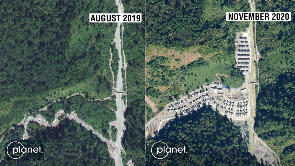 Satellite image showing alleged encroachment by China by building village