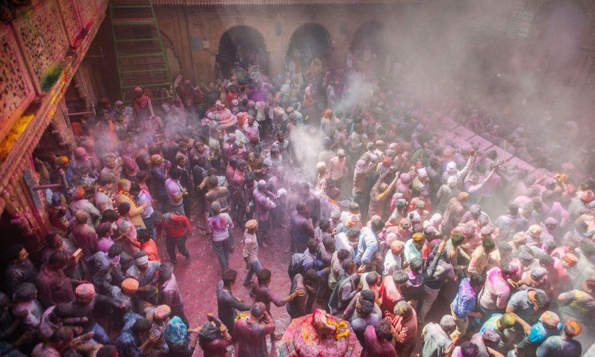 Bankey Bihari Temple Holi Celebration