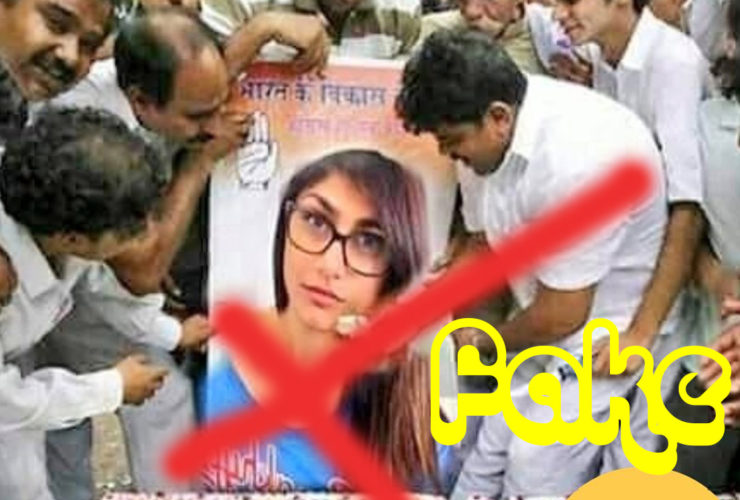 Fact Check Congress Workers Feeding Cake to Mia Khalifa's Poster Viral Post
