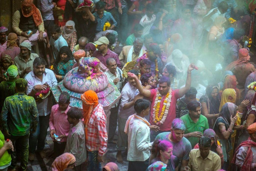 Holi Celebration and tradition at the Bankey Bihari temple