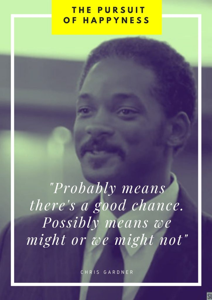 Probably means there's a good chance. Possibly means we might or we might not quote from The Pursuit of Happyness