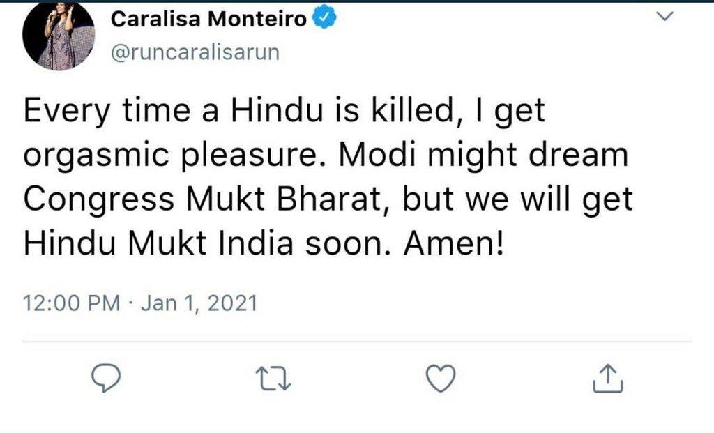 Screengrab of the fake anti-hindu tweet that is attributed to Caralisa