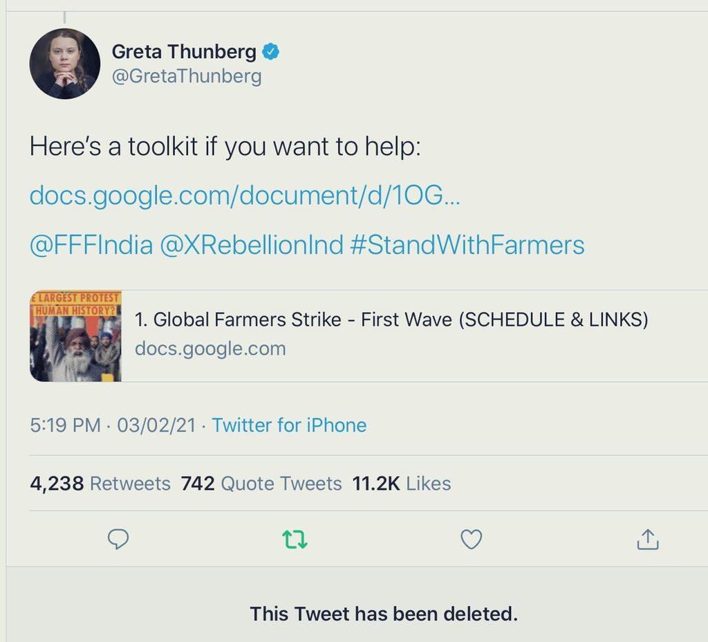 Screenshot of the controversial toolkit tweet by Greta Thunberg