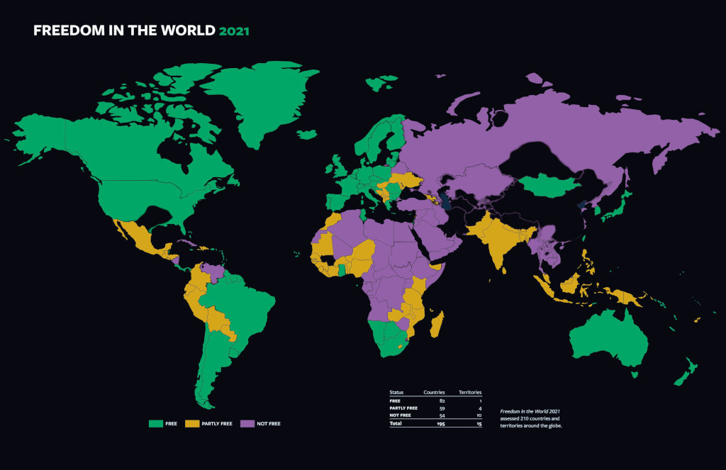 Freedom in the World 2021 Map