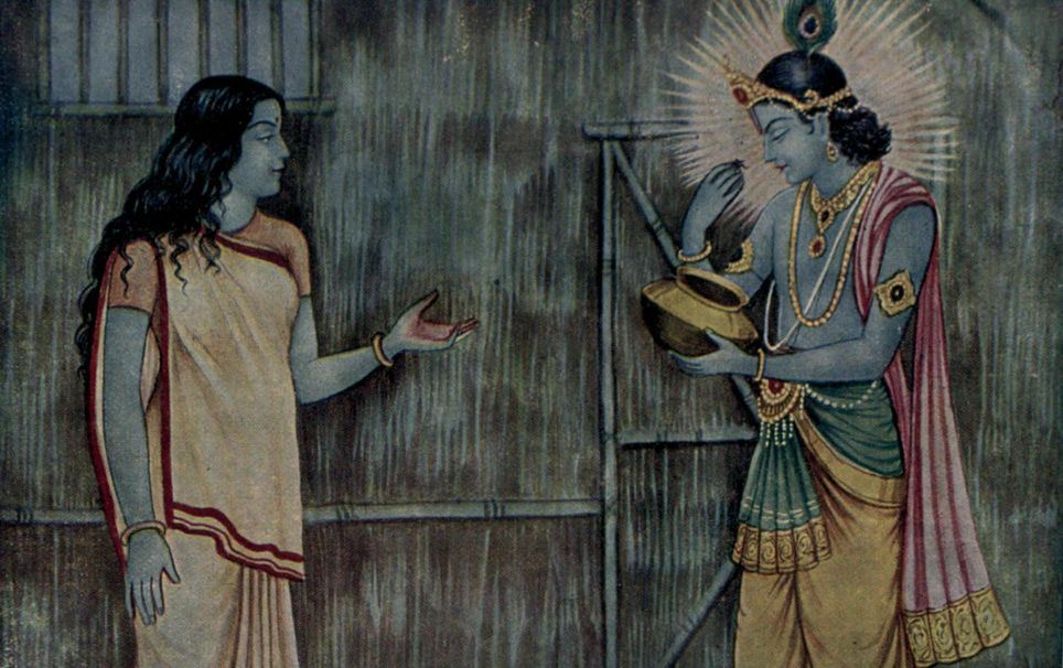 Lord Krishna visits to consoles Kunti and Draupadi