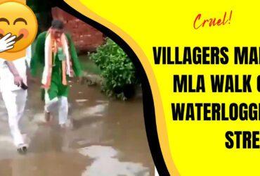 Angry Villagers Make MLA Walk On Waterlogged Street